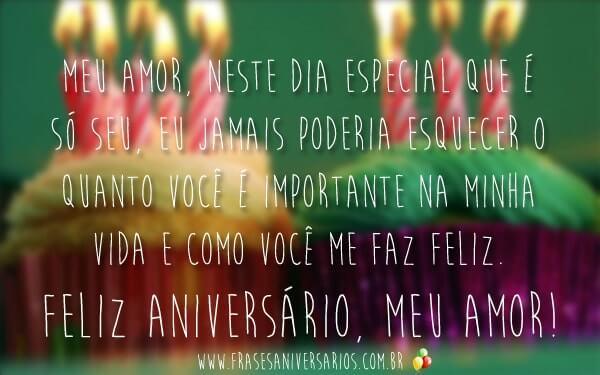 Feliz aniversário para amor